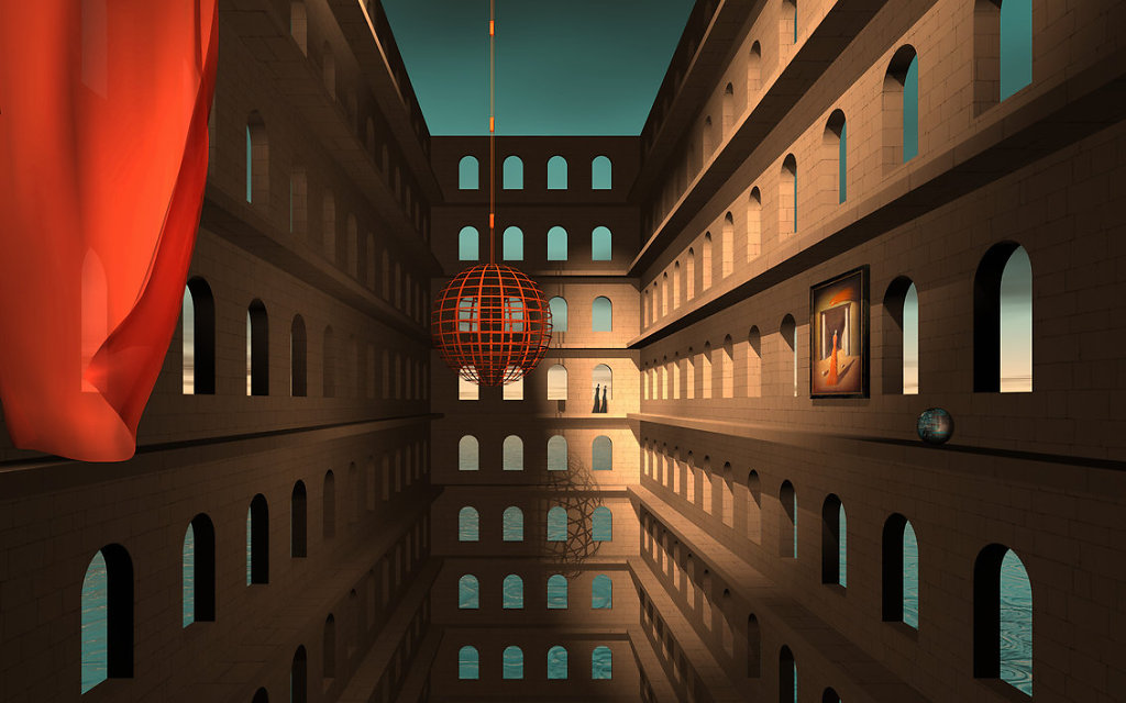"""Kolja Tatic"" surreal maze labyrinth Dali Escher amazing cinema4d ""3d illustration"" render ""Imaginary world"" creative loneliness solitude dystopian scifi"