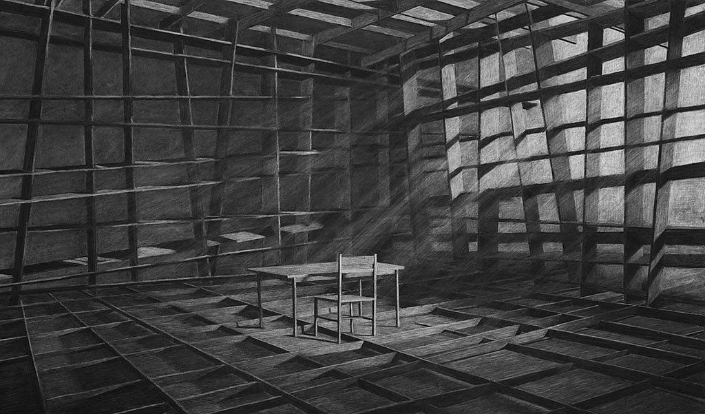 La obra de Levi Van Veluw sorprende. Ilustraciones que repiten los espacios de su infancia. Memorias que se van descomponiendo en fragmentos mínimos.