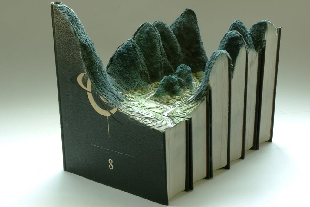 """Guy Laramee"" ""carved books"" ""ancient ruins"" sculpture art surreal fantasy artwork dreamworld dystopian"