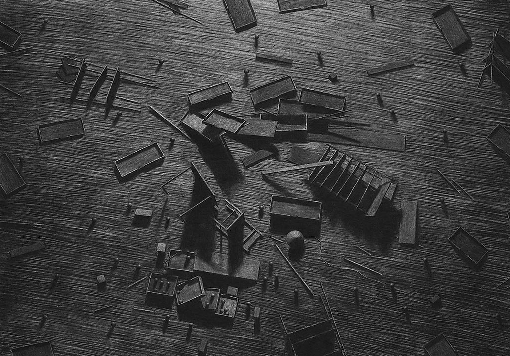 """Levi Van Veluw"" ""The collapse of cohesion"" art illustration ""abandoned places"" surreal ""charcoal drawings"" ""black and white"" engraved"