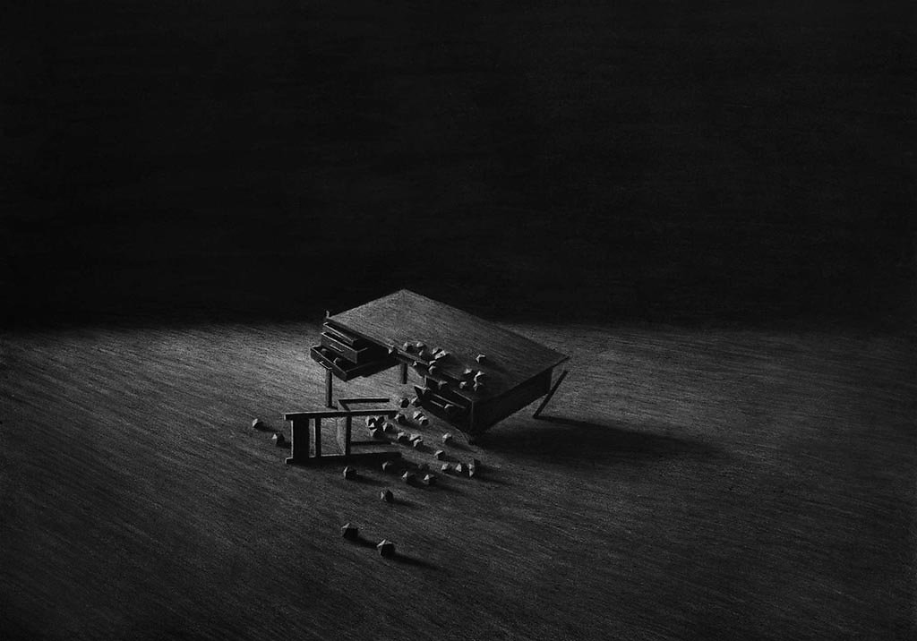 """""""Levi Van Veluw"""" """"The collapse of cohesion"""" art illustration """"abandoned places"""" surreal """"charcoal drawings"""" """"black and white"""" engraved"""