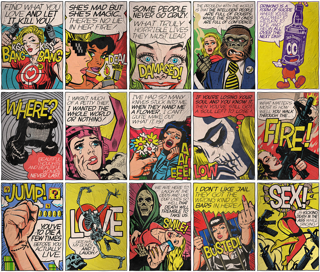 """The Pop Art series by Butcher Billy"" parody comics ""social criticism"" artist illustrator photoshop photomanipulation history ""iconic photos"""