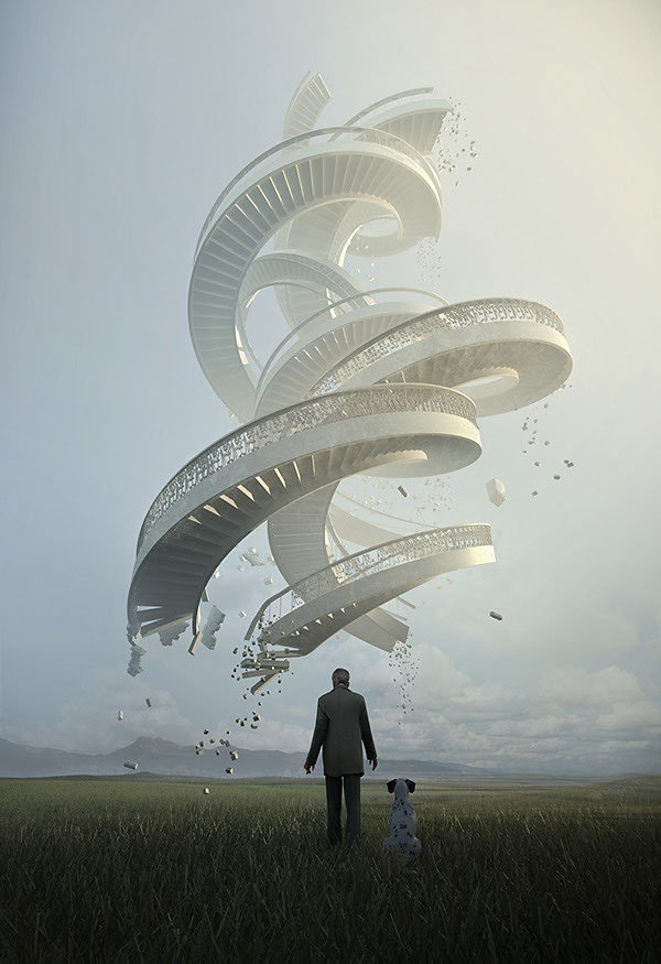 """Jie Ma"" surreal haunting ""Futuristic Architecture"" ""Dystopian urbanism"" brutalism dreamscapes astonishing digital artworks illustration cinema4d"