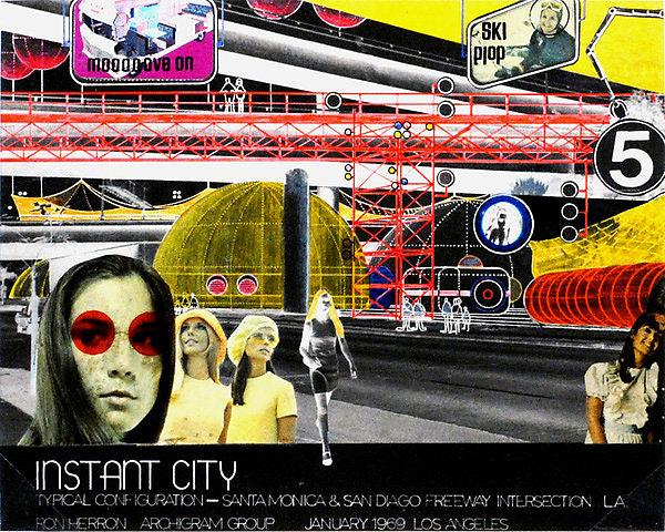 """Instant City by Jhoana Mayer"" Archigram architecture futuristic imaginary ""Future Cities"" scifi surreal ""Dystopian Cities"" ""Vintage collage"""