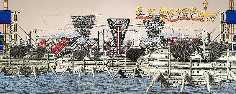"""Walking City by Ron Herron"" Archigram architecture futuristic imaginary ""Future Cities"" scifi surreal ""Dystopian Cities"""