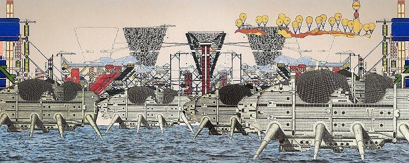 """Walking City by Ron Herron"" Archigram architecture futuristic imaginary ""Future Cities"" scifi surreal ""Dystopian Cities"""