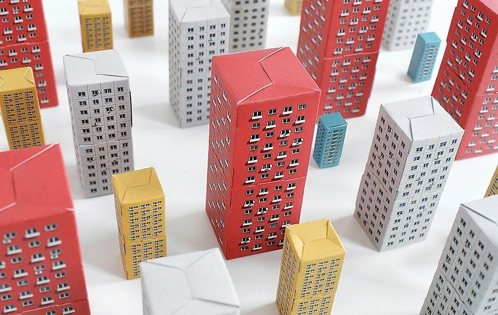 Blokoshka by Zupagrafika graphic design project paper cutouts soviet brutalism eastern bloc modernist housing architecture world war II