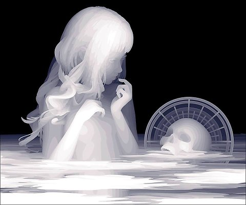 Kazuki Takamatsu Spiral of emotions ghostly paintings translucent gouache layers mysterious illustrations hologram like female characters