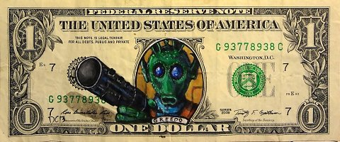 "Donovan Clark ""Money Art"" graphic designer painter illustrator subversive contemporary art pop culture icons drawn on paper bills"