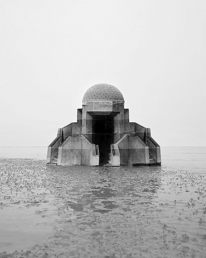 "Noemie Goudal ""Observatoires"" series dystopian brutalist architecture surreal abandoned places fantasy images photoshop photomanipulations"