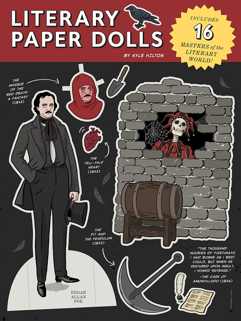 Kyle Hilton paper dolls art hystory and literature well known icons playful funny pop art cutouts figures